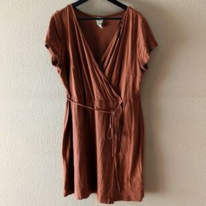 H&M mini wrap dress, brown, XL